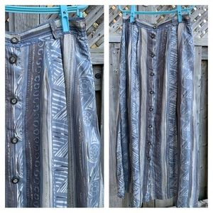 Vintage Vibes Silk Button Front Teal Maxi Skirt